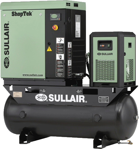 Sullair ShopTek ST700 tank mounted rotary screw air compressor